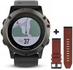 Garmin Pack Fenix 5X GPS Multisports Sapphire + Bracelet cuir QuickFit