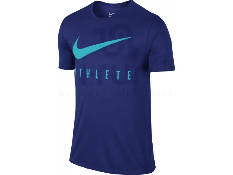 nike tee shirt run swoosh athl te m pas cher destockage running v tements homme en promo. Black Bedroom Furniture Sets. Home Design Ideas