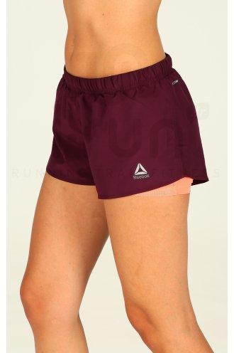 reebok short running 2 en 1 w pas cher v tements femme running shorts cuissards jupes en promo. Black Bedroom Furniture Sets. Home Design Ideas