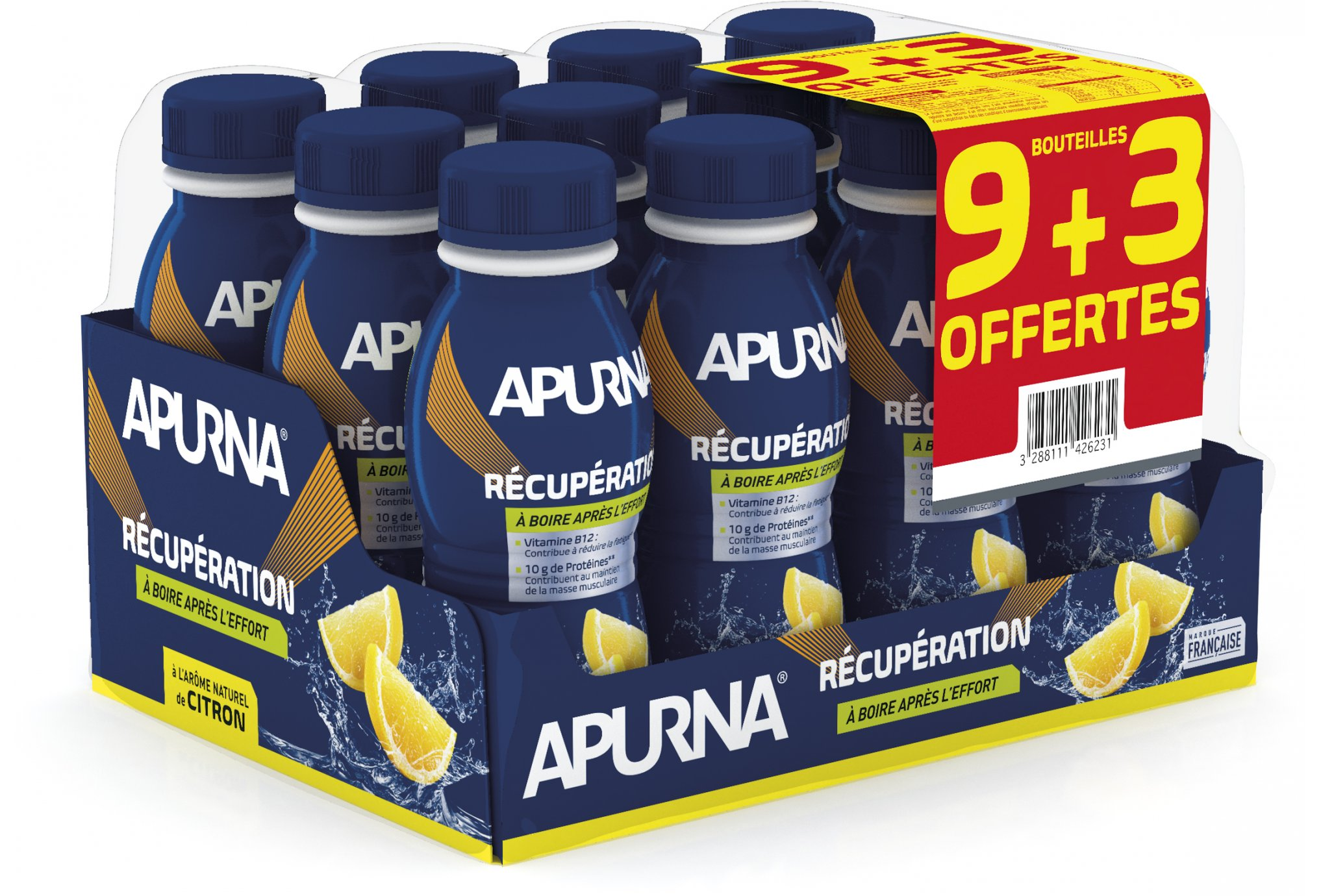Apurna Pack 9+3 Boissons de récupération - Citron Diététique Protéines / récupération