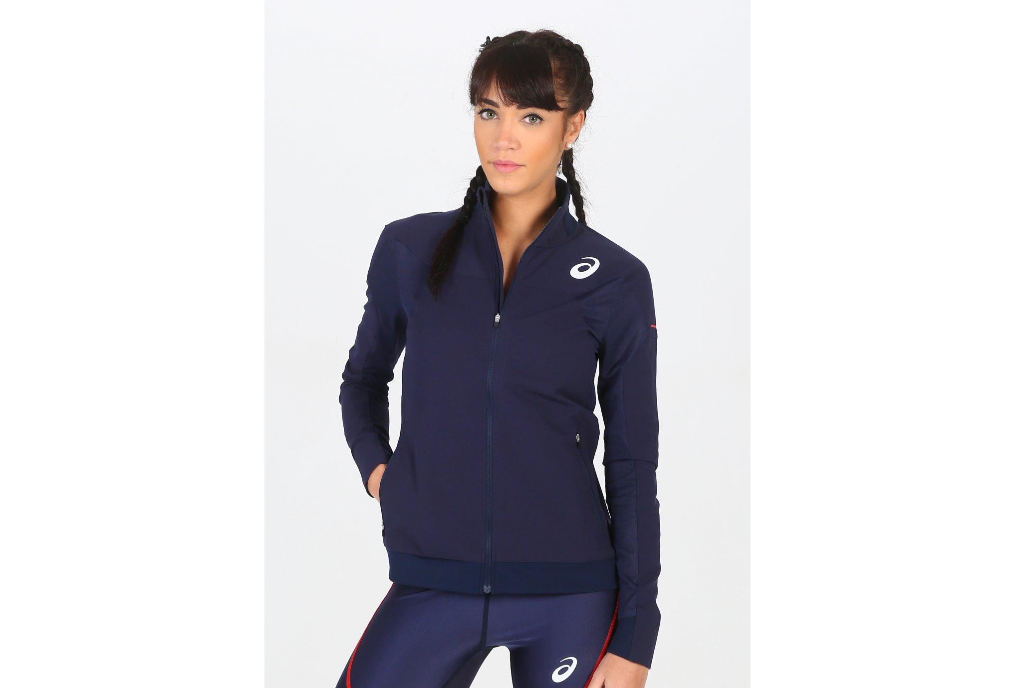 Asics T&F Jacket Équipe de France W vêtement running femme