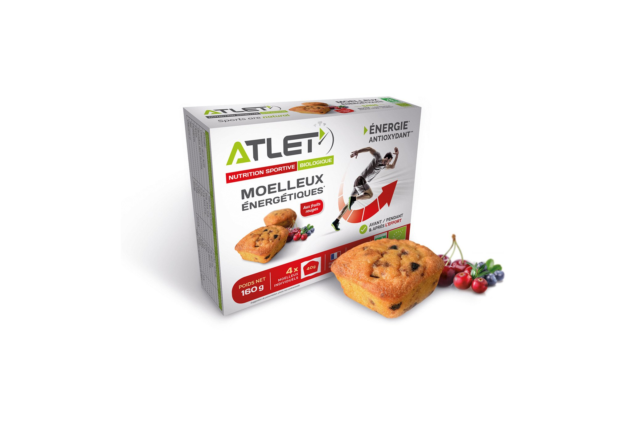 Atlet Étui de 4 Moelleux Énergétique - Fruits Rouges Diététique Barres