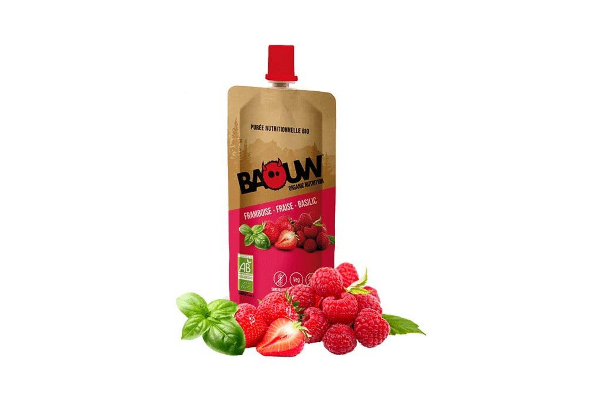 Baouw Purée nutritionnelle bio - Framboise - Fraise - Basilic Diététique Gels