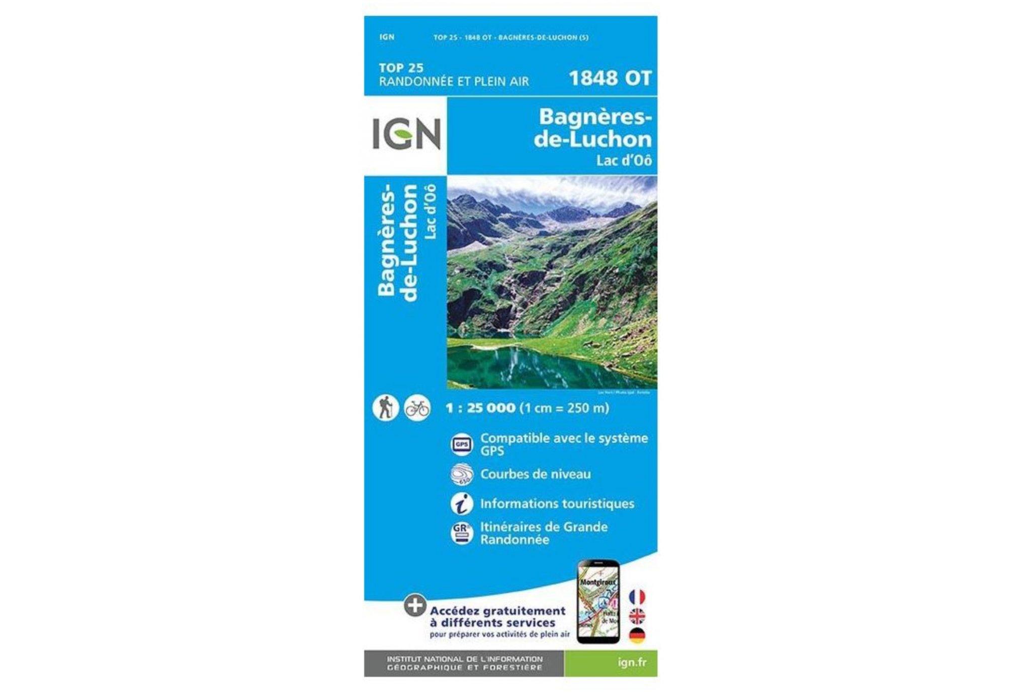 Carte IGN Bagnères-de-Luchon 1848OT Cartes