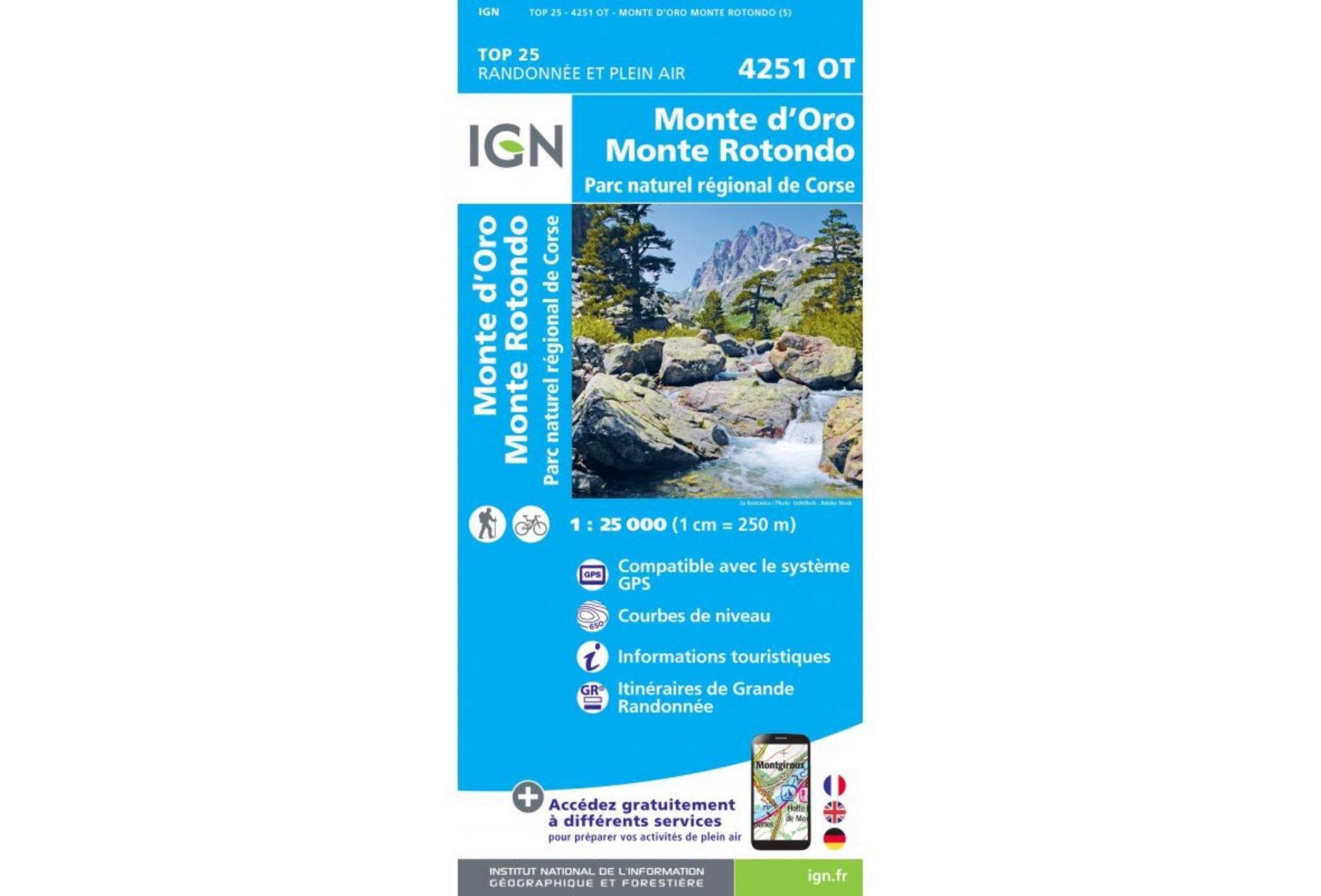 Carte IGN Monte d'Oro Monte Rotondo 4251OT Cartes