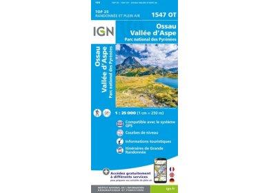 Carte IGN Ossau Vallée d'Aspe 1547OT