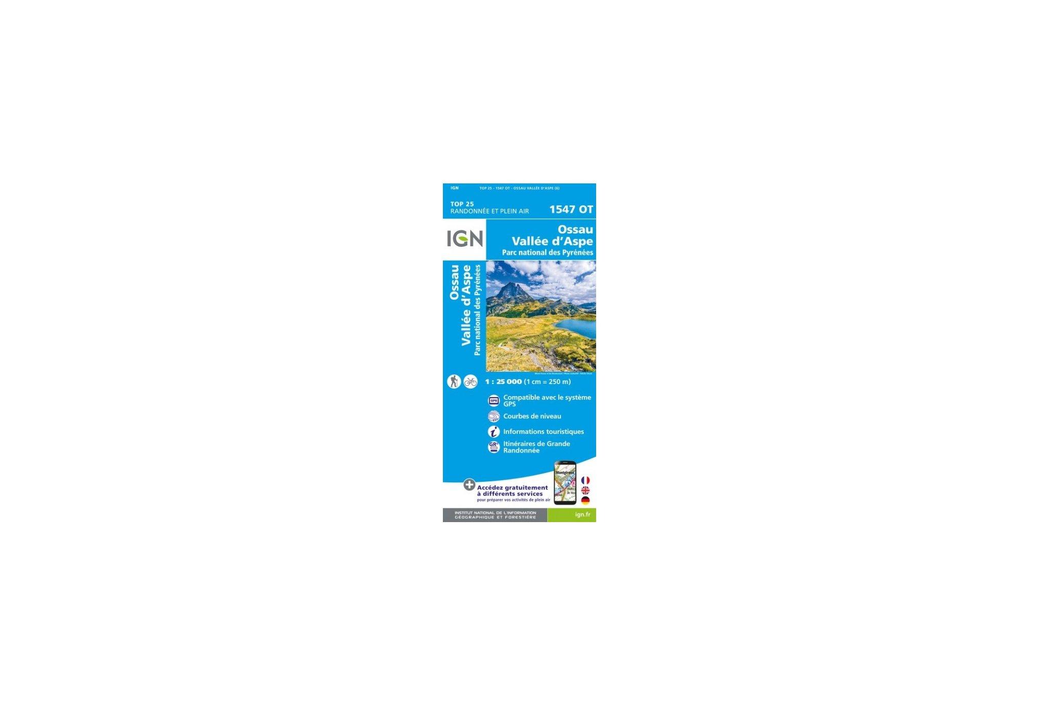 Carte IGN Ossau Vallée d'Aspe 1547OT Cartes