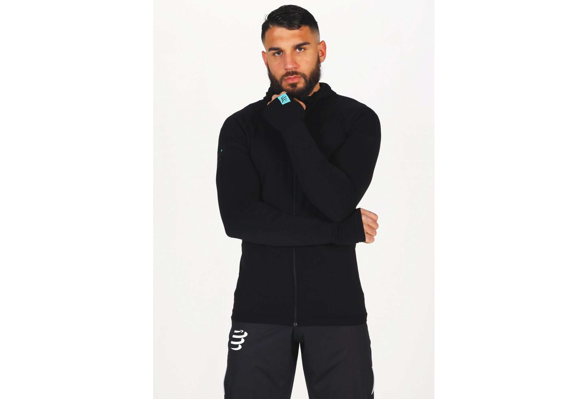 Compressport 3D Thermo Seamless Hoodie Black Edition 2021 M vêtement running homme