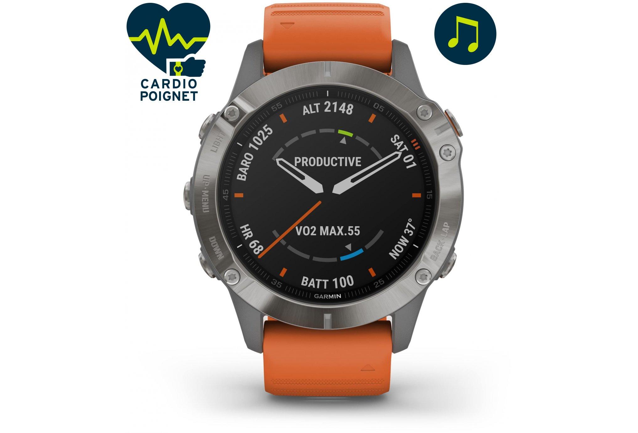 Garmin Fenix 6 Pro Sapphire Titane Cardio-Gps