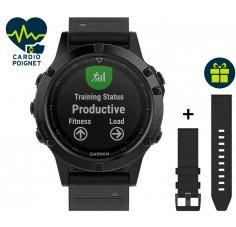 Garmin Pack Fenix 5 GPS Multisport Sapphire + Bracelet cuir QuickFit