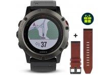 Garmin Pack Fenix 5X GPS Multisport Sapphire + Bracelet cuir QuickFit