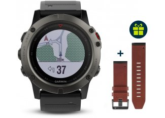 Garmin Fenix 5X GPS Multisports Sapphire+ Correa de cuero de regalo
