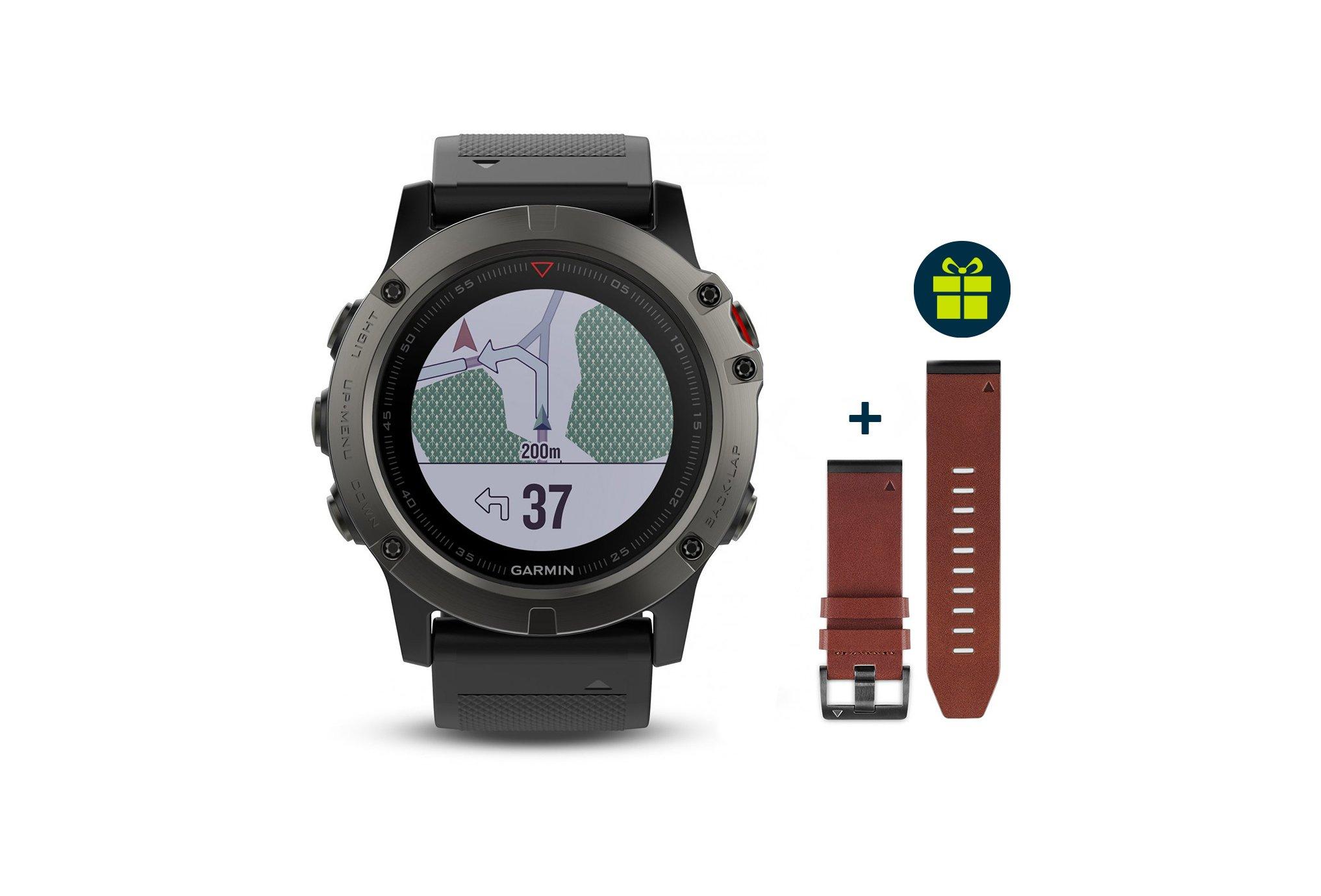 Garmin Pack Fenix 5X GPS Multisport Sapphire + Bracelet cuir QuickFit Cardio-Gps