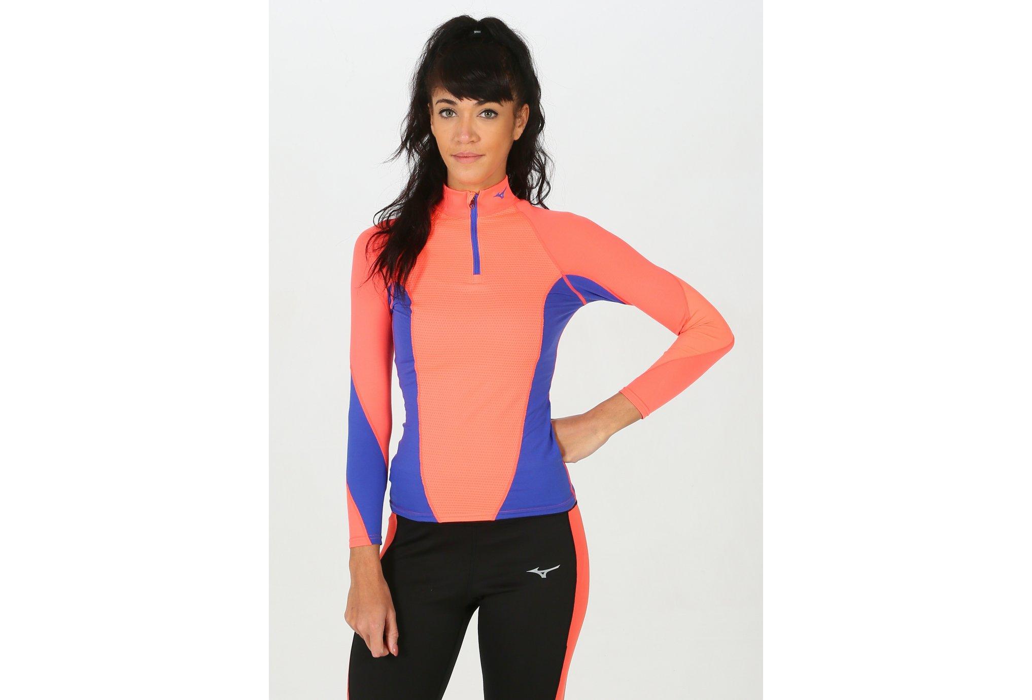 Mizuno Tee-shirt Breath Thermo Virtual Body G1 1/2 zip W vêtement running femme