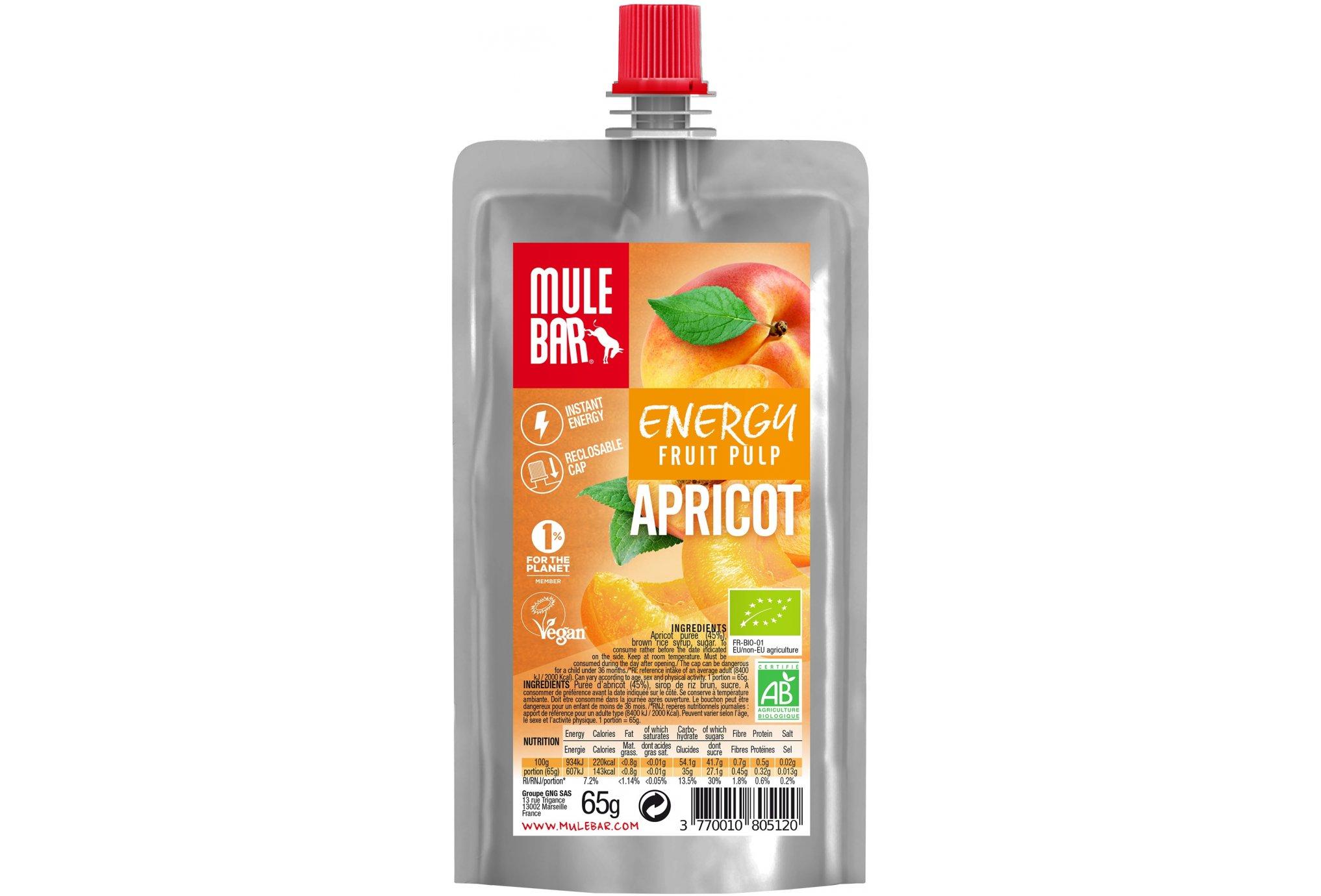 Mulebar Pulpe de fruits Bio & Vegan - Abricot Diététique Gels