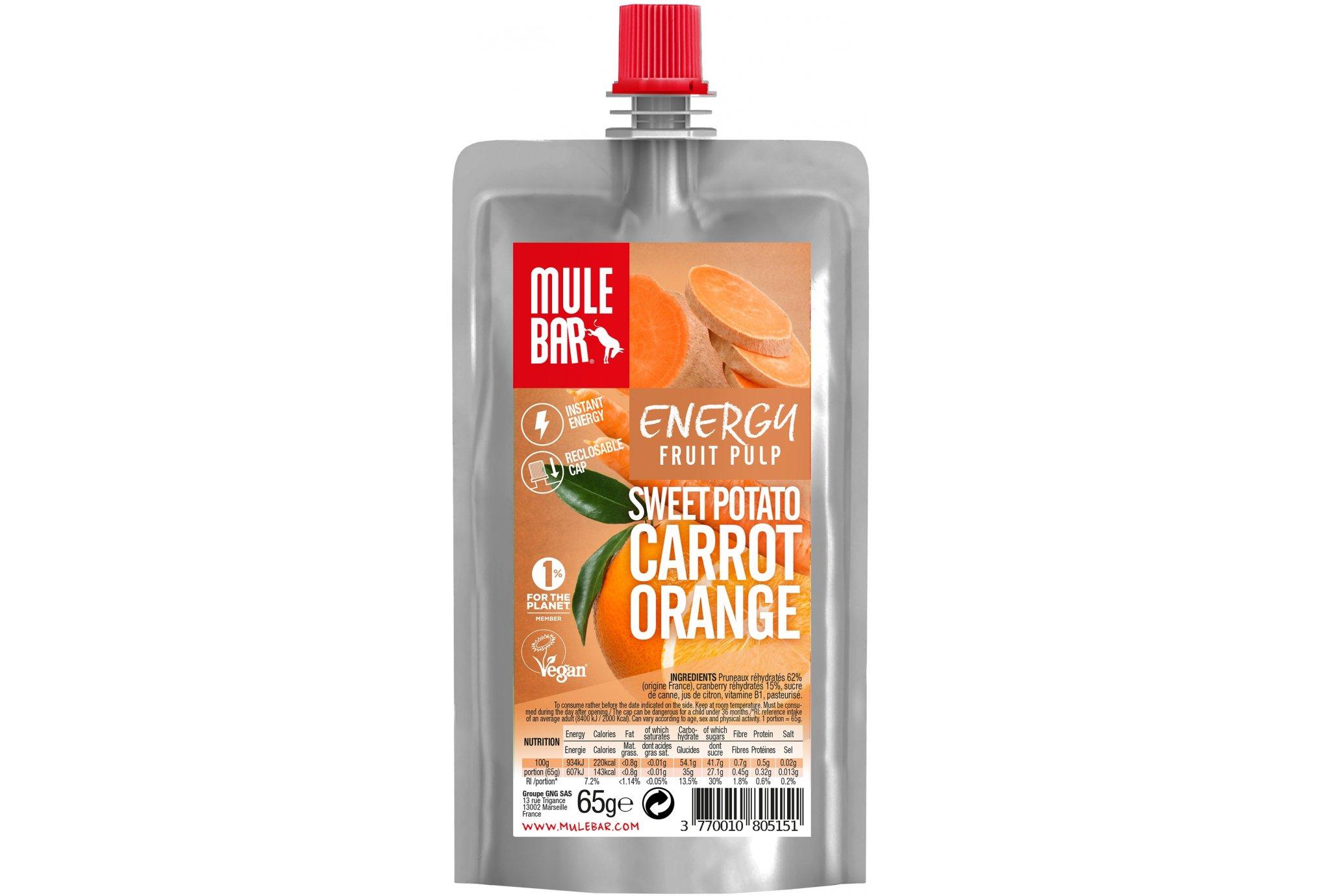 Mulebar Pulpe de fruits Vegan - Patate Douce/Orange/Carotte Diététique Gels