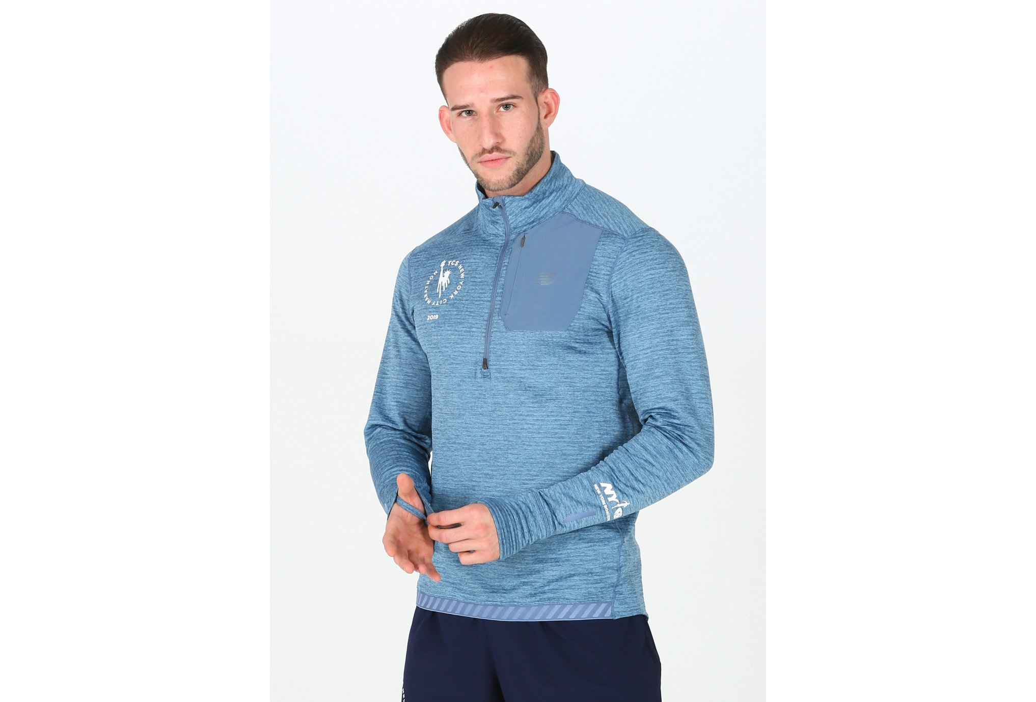 New Balance Heat Quarter 1/2 Zip NYC M vêtement running homme