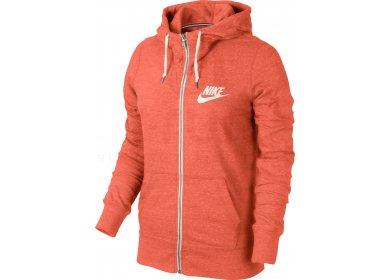 sweat à capuche nike orange zippé