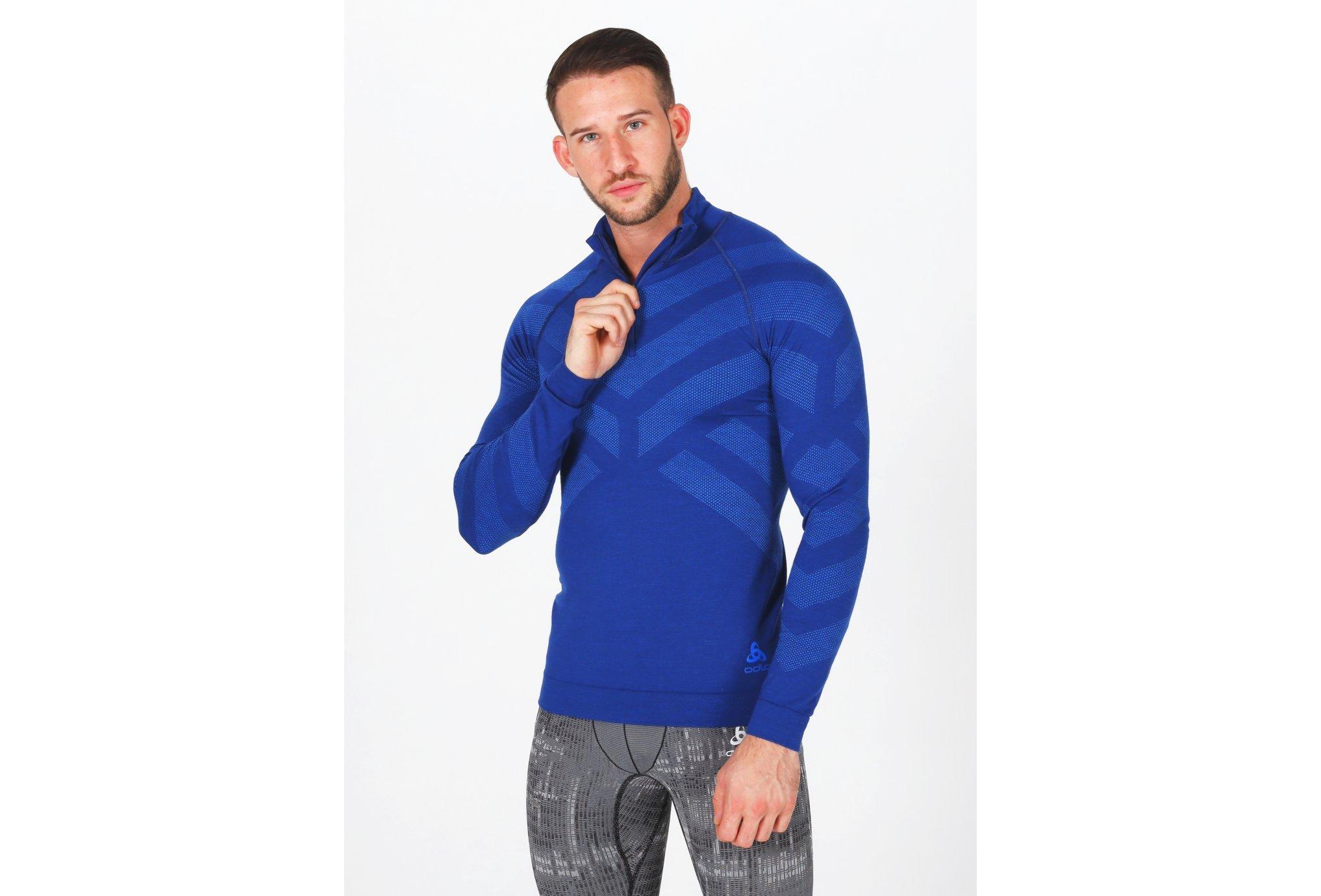 Odlo Natural + Kinship Warm 1/2 zip M vêtement running homme