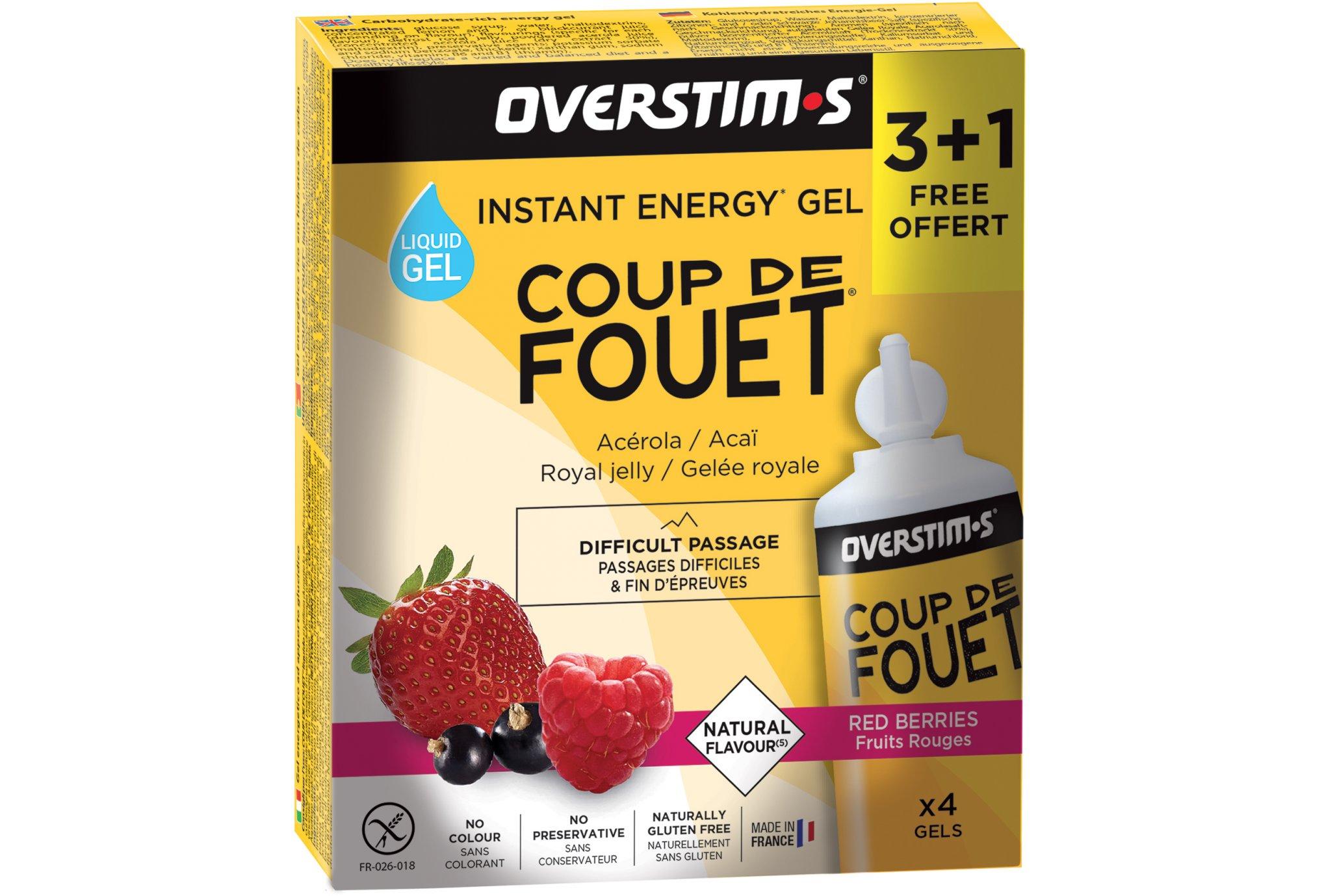 OVERSTIMS Étui Gels Energie Instantanée Coup de Fouet 3+1 - Fruits rouges Diététique Gels