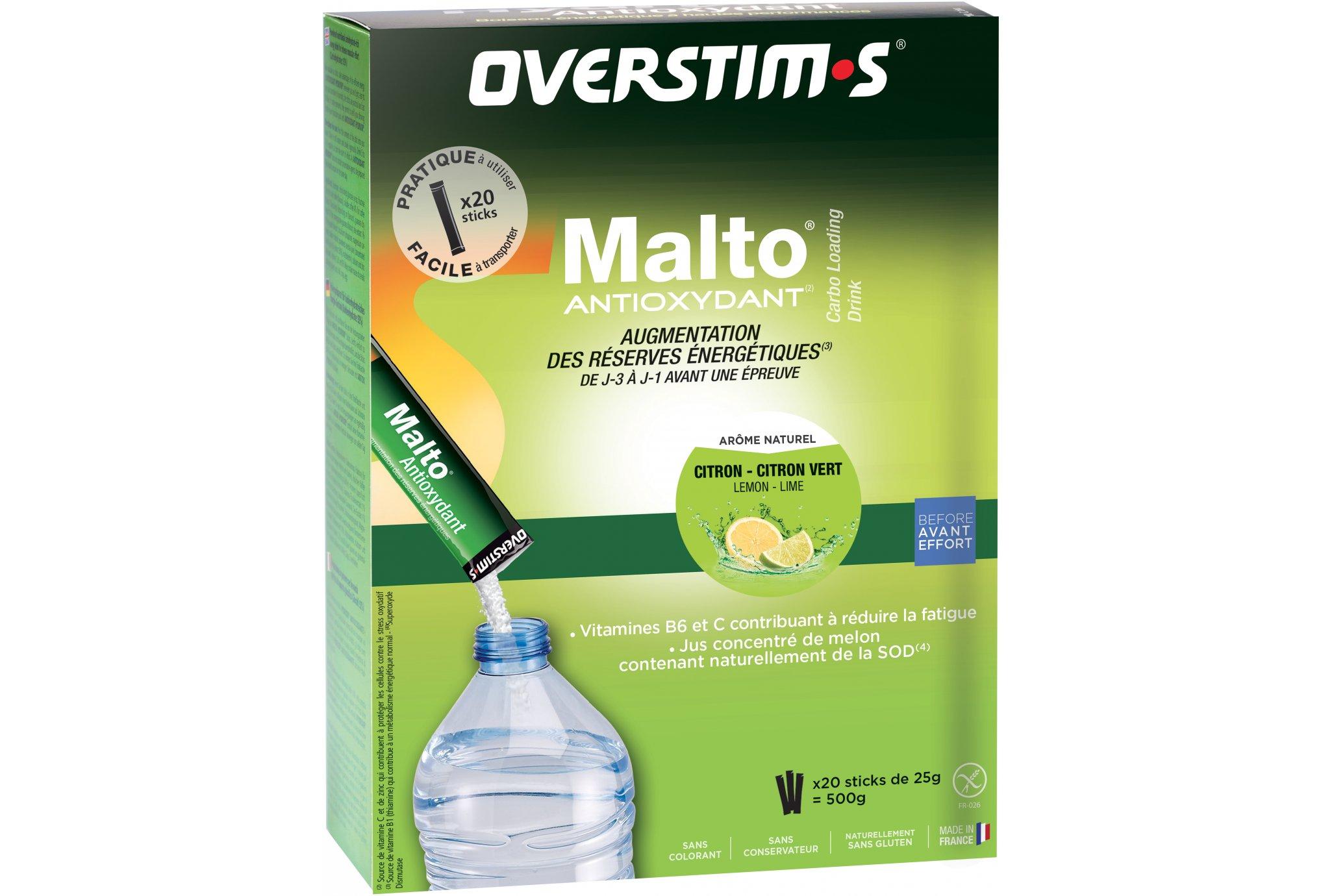 OVERSTIMS Malto Antioxydant 20 sticks - Citron/citron vert Diététique Préparation