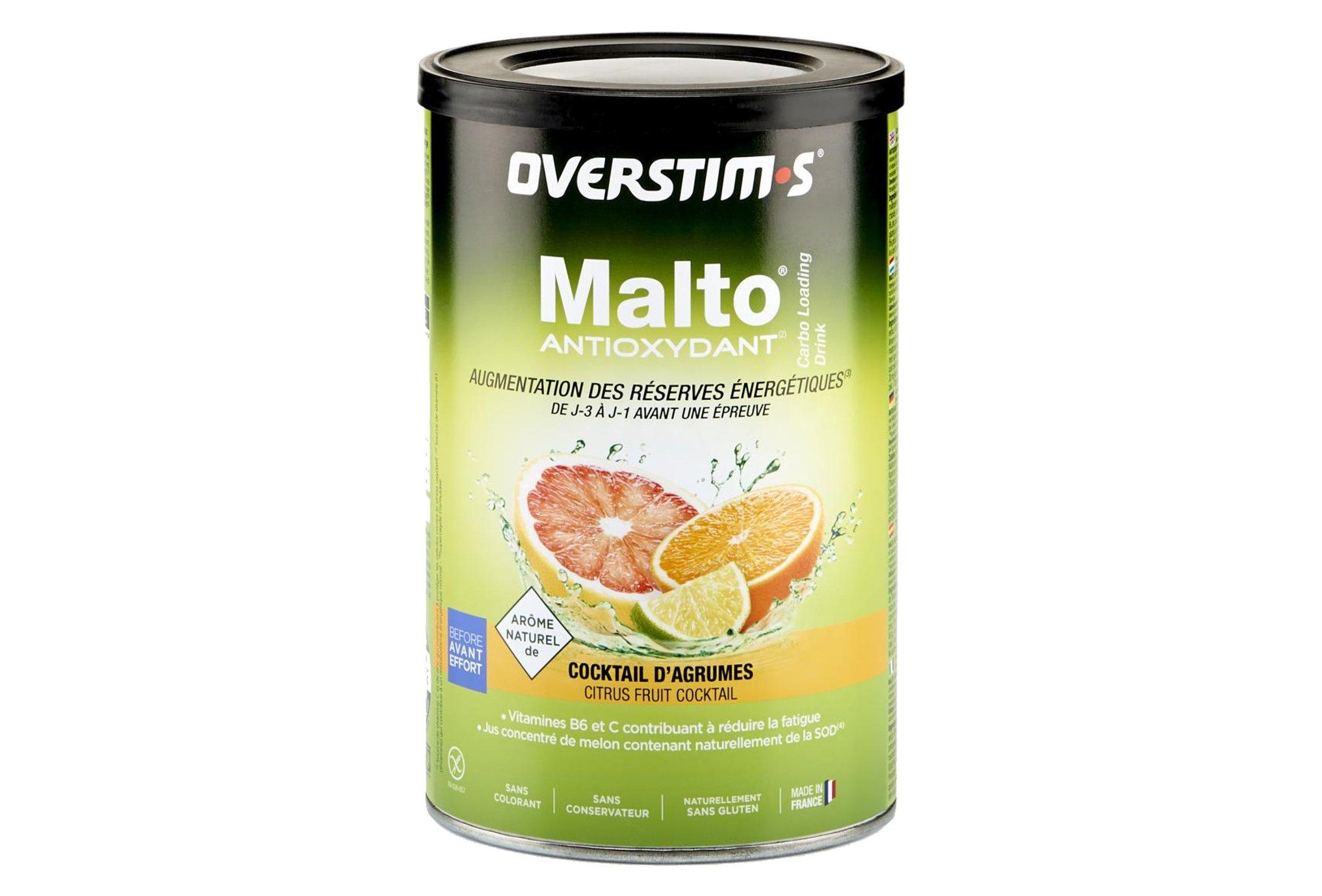 OVERSTIMS Malto Antioxydant 500 g - Cocktail d'agrumes Diététique Préparation