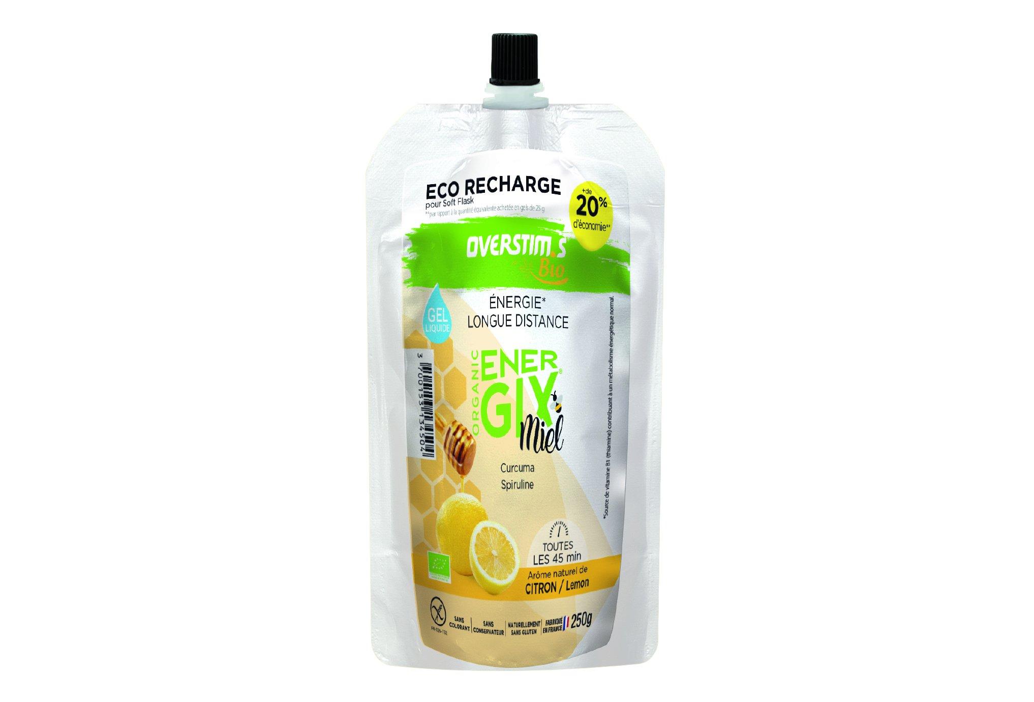OVERSTIMS Recharge Éco Gel Énergétique Energix Miel Bio 250 g - Citron Diététique Gels