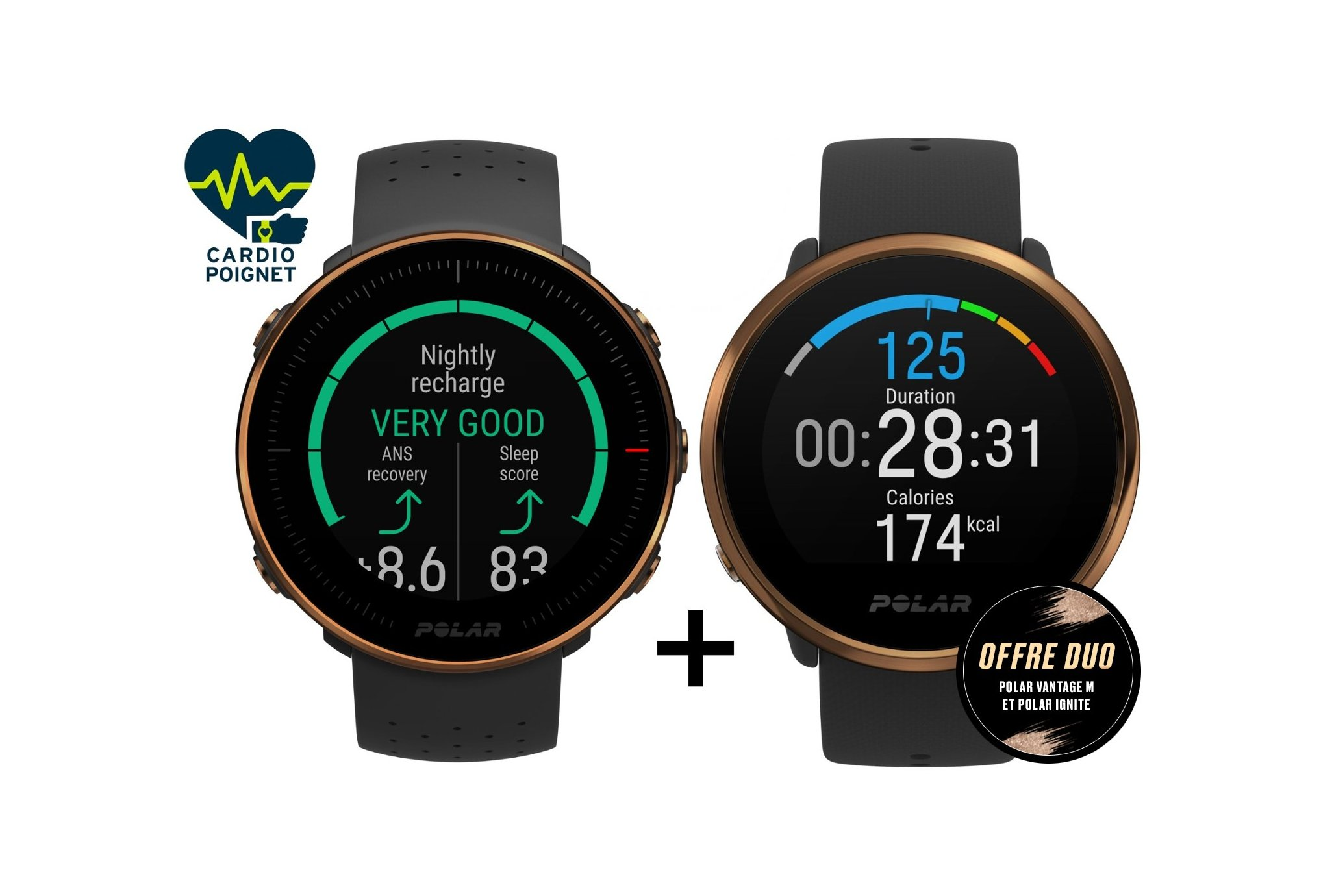 Polar Pack Vantage M Edition Copper + Ignite Edition Copper Cardio-Gps