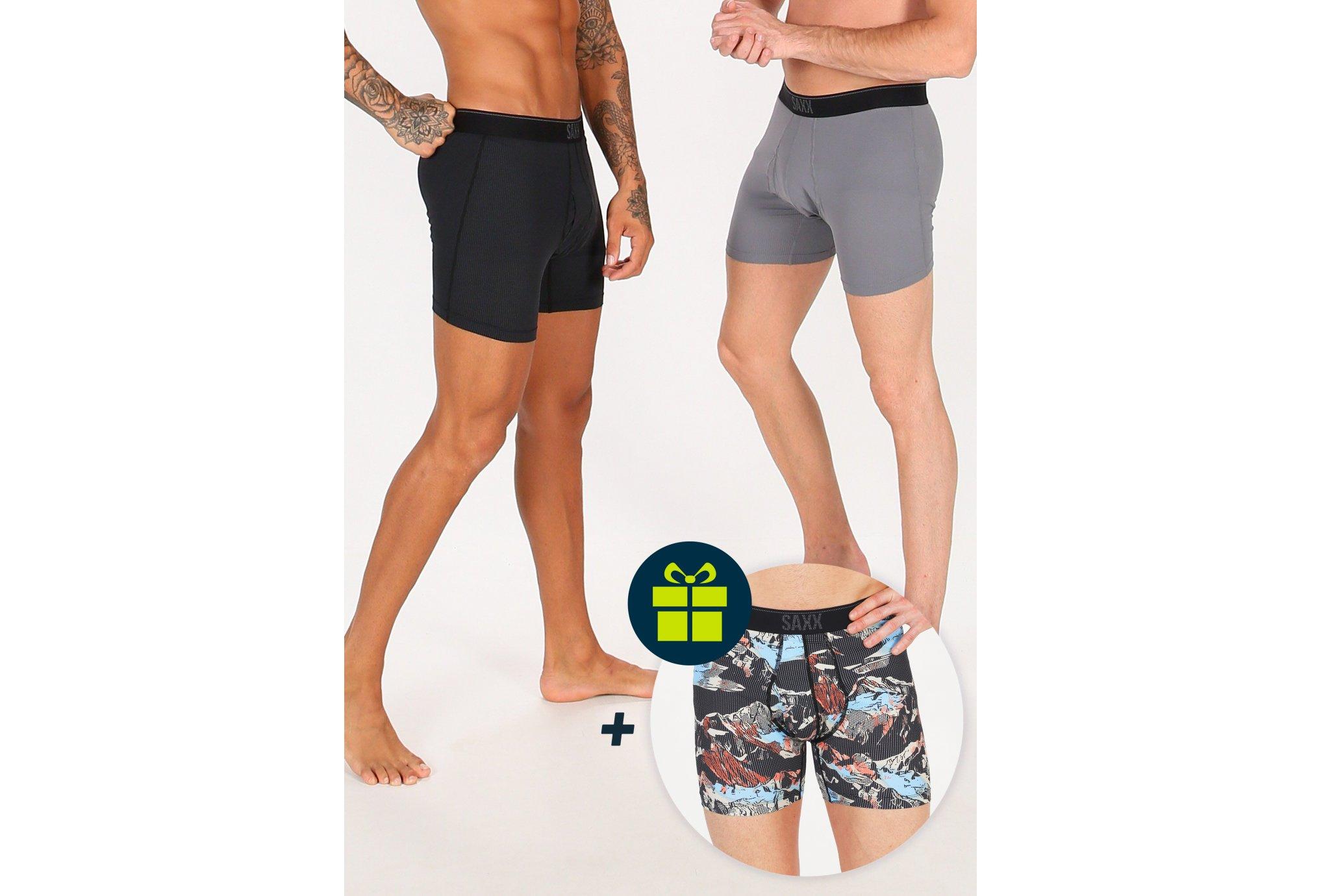 Saxx Lot de 2 boxers Quest + 1 offert M vêtement running homme